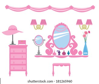 Set of pink dressing room decals, princess style