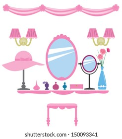 Set of pink dressing room elements, for wall decals, princess style