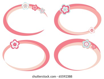 Set of pink frames decorated with flowers