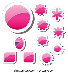Set of pink glass gel buttons icons, different shapes, paper notes, pink sticker tags, vector illustration. Blank templates of a price tags. Mock up for your business presentation.
