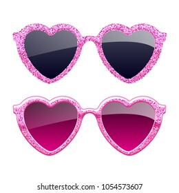Set of pink glitter heart sunglasses icons. Fashion glasses accessories.