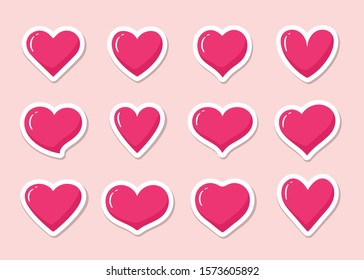 Set of pink heart shaped stickers. Collection of different romantic vector heart icons for web site, sticker, label, tattoo art, love logo and Valentines day.