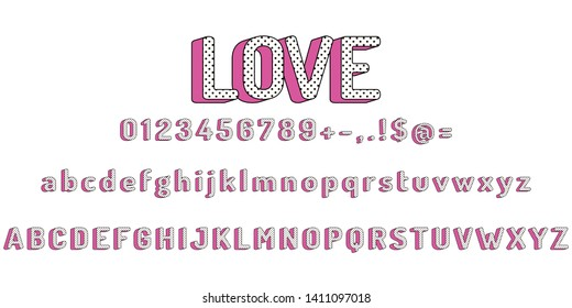 Set of pink letters of the English alphabet in a cartoon style in a black dot. Suitable for inscriptions for children, greeting cards with lol dolls, for girls. Vector