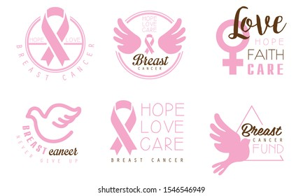Set of pink logos with inscriptions in support of breast cancer patients. Vector illustration on a white background.