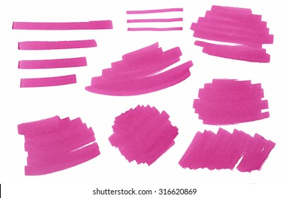 Set of pink marker stains