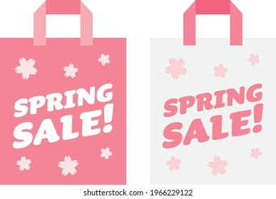 Set of the pink paper bag of spring sale