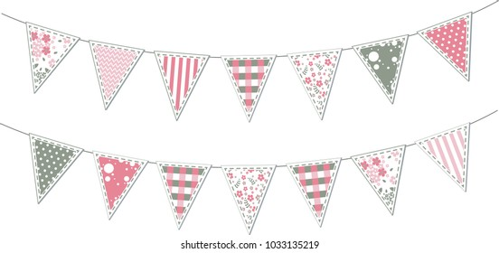 Set of pink patchwork textile bunting flags. Cute party garlands isolated on white background for baby shower, birthday, retro party, wedding,  holiday decorations. Vector illustration.