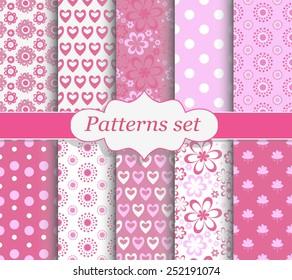 Set of pink patterns. Floral, hearts, polka dot patterns