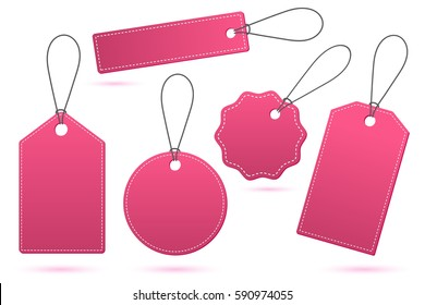 Set of pink price tags with shadow on white
