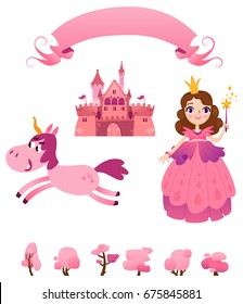 Set of pink princess tale: princess, unicorn, magic castle, ribbon.