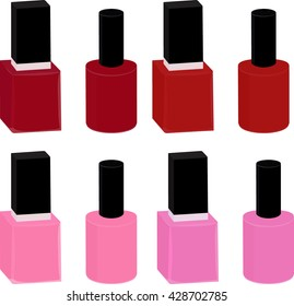 set of pink and red nail Polish in glass bottles isolated on white
