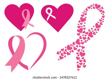 Set of pink ribbons with hearts. Breast cancer awareness ribbons collection. Vector illustration for health.