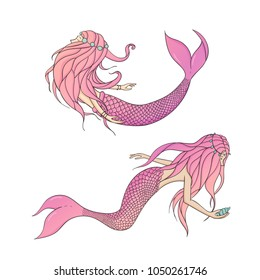 Set of pink vector mermaids. Mythical sea creatures isolated on the white background.