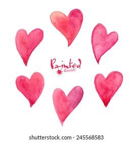 Set of pink watercolor vector hearts