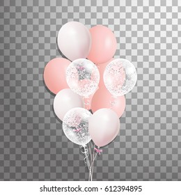 Set of pink, white transparent with confetti helium balloon isolated in the air. Party decorations for birthday, anniversary, celebration, wedding.  vector
