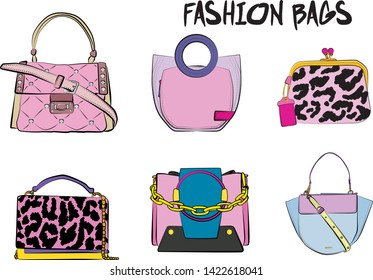 Suitcase Woman Hand Pink Background Stock Vectors, Images