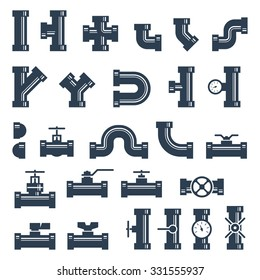 Set of pipes, fittings and valves