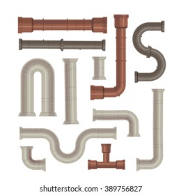 Set of pipes, white and rusted color,  Design for stickers, logo, web and mobile app. Isolated vector illustration.