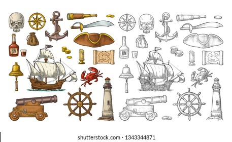 Set pirate adventure. Anchor, rum bottle, cannon, tricorn, wheel, money bag, coins, skull, saber, caravel, compass, spyglass, lighthouse isolated on white background. Vector color vintage engraving