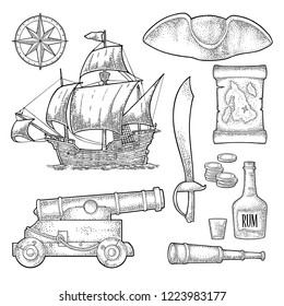 Set pirate adventure. Cannon, rum bottle, coins, saber, map, caravel, compass rose, spyglass, tricorn isolated on white background. Vector black vintage engraving