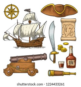 Set pirate adventure. Cannon, rum bottle, coins, saber, map, caravel, compass rose, spyglass, tricorn isolated on white background. Vector colorful vintage engraving