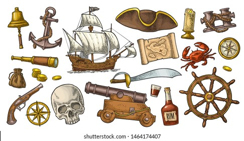 Set pirate adventure. Cannon, rum bottle, coins, saber, map, caravel, compass rose, spyglass, flintlock pistol, crab, anchor, isolated on white background. Vector color vintage engraving