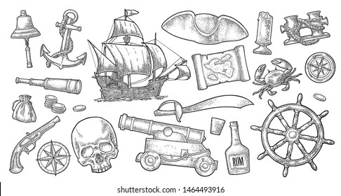 Set pirate adventure. Cannon, rum bottle, coins, saber, map, caravel, compass rose, spyglass, flintlock pistol, crab, anchor isolated on white background. Vector black vintage engraving