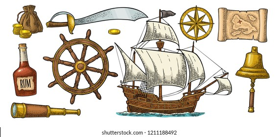 Set pirate adventure. Rum bottle, wheel, money bag, coins, skull, saber, caravel, compass rose, spyglass, bell isolated on white background. Vector color vintage engraving