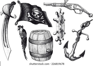 set Pirate attributes. Armament, parrot, flag and other