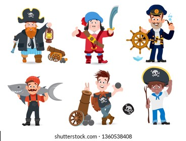 Set of pirate characters. Vector illustration isolated on white background for pirate party, games and much more.