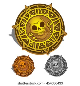 Set of pirate coin or piastres with a skull isolated on white background. Vector cartoon close-up illustration.