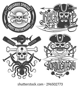 A set of pirate emblems with skull. Logos skulls in vintage style. Ideal for print on T-shirts.