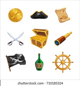 Set of pirate icons as golden coins, captain hat, paper map,crossed swords, chest with gold, telescope and bottle of rum, flag near steering wheel