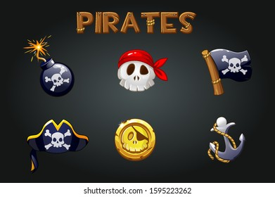 Set of pirate icons and symbols on a gray background. Bomb, anchor, skull, flag signs and wooden logo.
