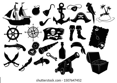 Set of pirate items. Collection silhouettes in the form of a captains hat, paper map, chest with gold, telescope and a bottle of rum, flag. Black and white vector illustration for children. Tattoo.