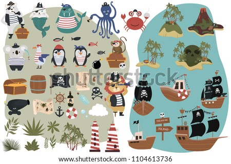 Set of Pirate objects