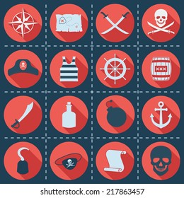 Set of pirate or sea icons, vector illustration. Wind rose, treasure map, sabers, jolly roger, captain hat, striped singlet, helm, cask, anchor, bomb, skull, hook, bottle