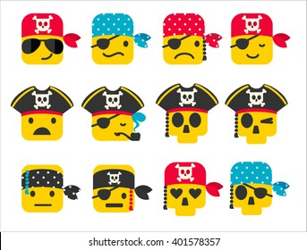 Set of pirate smileys with different emotions. Vector icons.