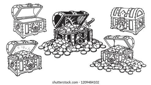 Set of pirate treasure chests in sketch style open and closed, empty and full of gold coins and jewelry. Hand drawn vector illustration isolated on white background.