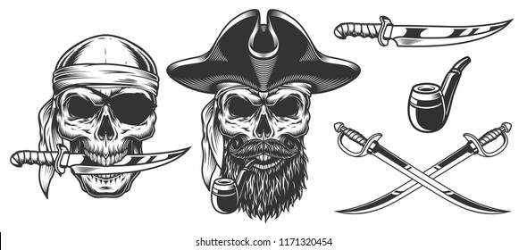 Set of pirates. Concepts with skulls. Vector illustraiton