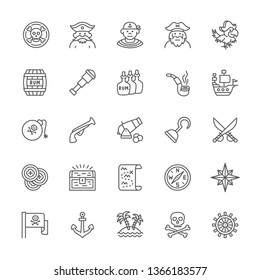 Set of Pirates Line Icons. Sailor, Boatswain, Captain, Parrot, Telescope, Smoking Pipe, Pirate Coins, Ship, Cannon, Treasure Chest, Compass, Anchor and more.