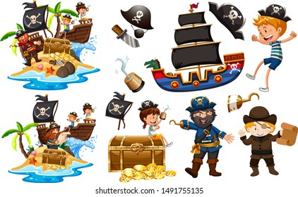 Set of pirates with ship and gold illustration