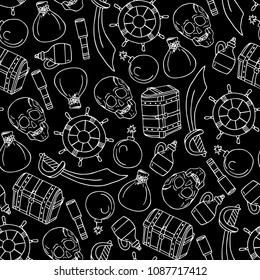 Set of pirates vector illustration. Chest, skull, sword, bomb, money bag, bottle of rum, steering wheel. Doodle style. Design objects. Poster. Banner. Logo. Icon. Holiday.
