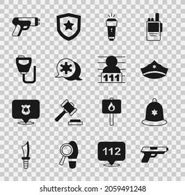 Set Pistol or gun, British police helmet, Police cap with cockade, Flashlight, Hexagram sheriff, Walkie talkie, electric shocker and Suspect criminal icon. Vector