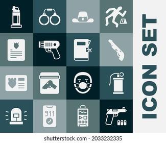 Set Pistol or gun, Hand smoke grenade, Police shotgun, Sheriff hat with badge, electric shocker, The arrest warrant, Pepper spray and station folder icon. Vector