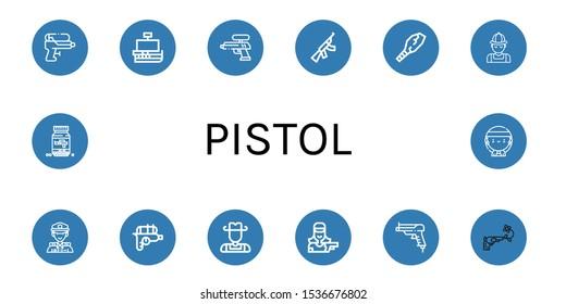 Set of pistol icons. Such as Water gun, Caravel, Assault rifle, Weapon, Hunter, Police, Cowboy, Shooter, Gun, Ammo, Gangsta , pistol icons