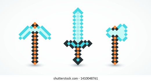 Set pixel arsenal blue color. Pixel axe, pickaxe, sword. Elements games, web, ui. Gaming arsenal. Pixel arsenal templates for printing. Vector illustration. EPS 10
