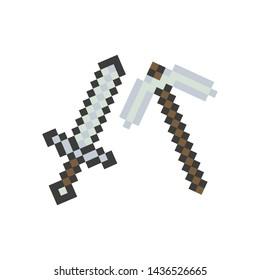 Set pixel arsenal.Pixel pickaxe, sword. Elements games, web, ui. Gaming arsenal. Vector illustration.