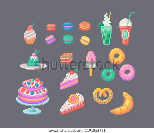 Image Vectorielle De Stock De Ensemble De Desserts Au Pixel