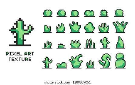 Set of pixel art of green bushes, trees, cacti, cactus, branches, shrubs on white background 8 bit isolated vector illustration. Retro arcade game environment design. Different types of green plants.